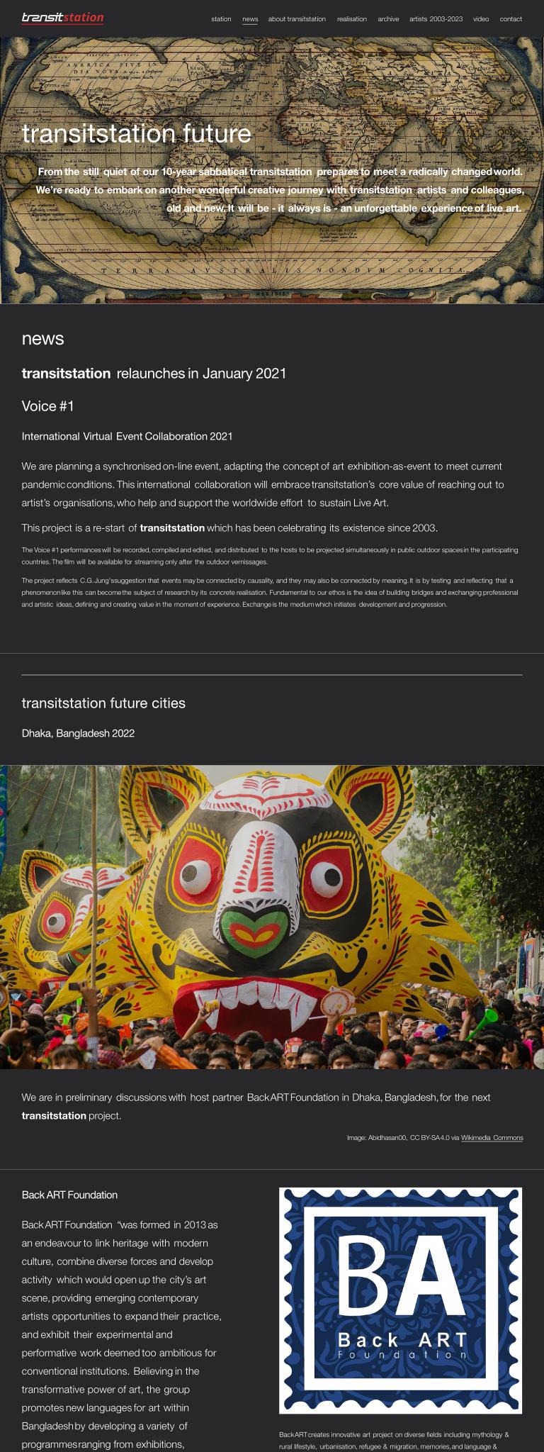 screenshot of artists' website, light text on dark background
