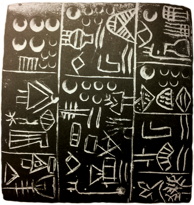square clay tablet with symbols arranged in a rough grid
